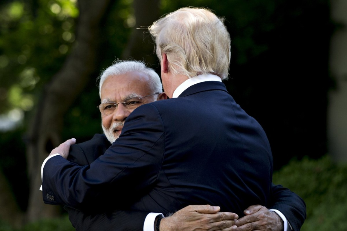 Narendra Modi, India's prime minister, left, embraces US President Donald Trump during a joint statement in the Rose Garden of the White House in Washington in June. Photo: Bloomberg