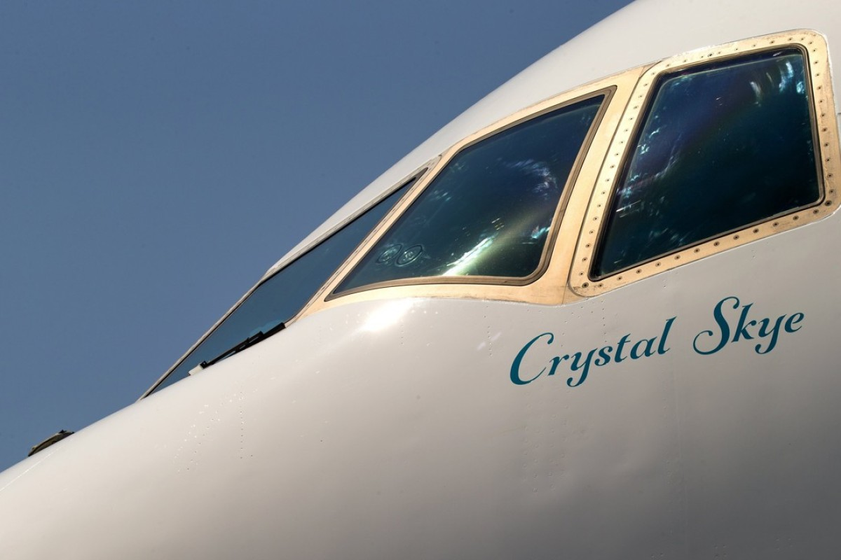 Luxury travel firm Crystal Cruises takes delivery of its first VIP jetliner, a Boeing 777-200LR with its extravagant interior. Photo: TNS