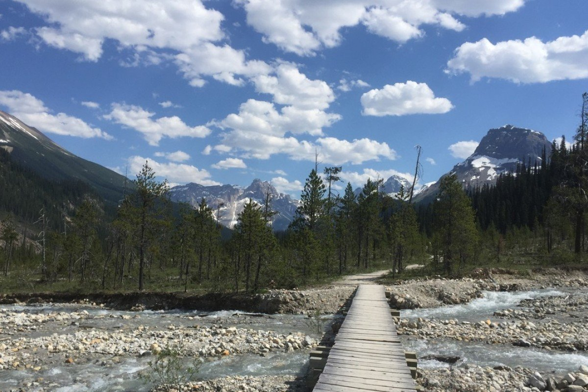 A bridge crosses a stream along the Iceline Trail in Yoho National Park in Canada's stretch of the Rocky Mountains, straddling the border of British Columbia and Alberta. It is an outdoorsman's paradise with scenic mountain hikes and crystal-blue water. Photo: AP