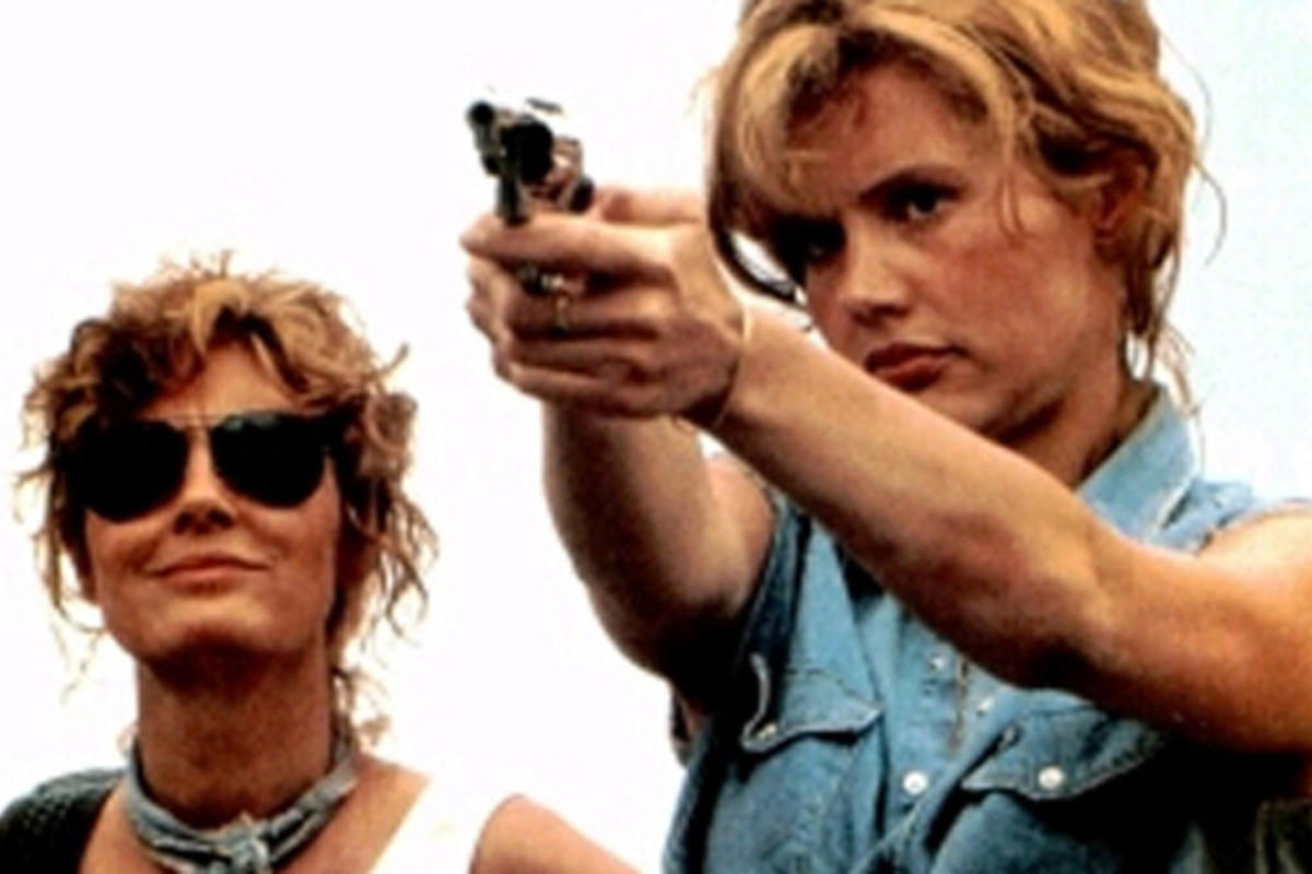 Susan Sarandon (left) and Geena Davis in a scene from the Ridley Scott movie Thelma & Louise.