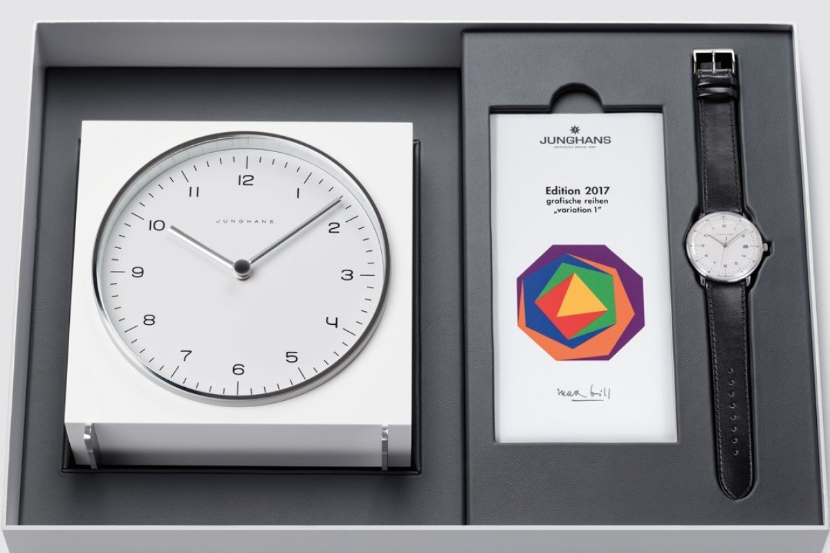 The Junghans Max Bill Edition 2017 set featuring a desk clock and a watch.