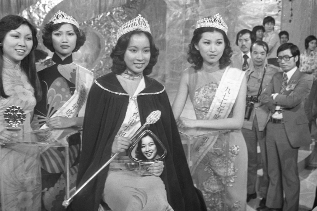 Loletta Chu Ling-ling (centre, in a cloak) after being crowned Miss Hong Kong 1977.