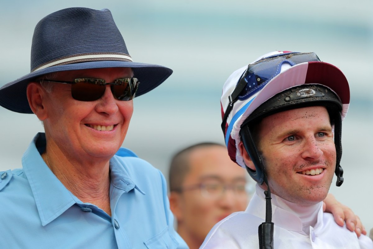 John Moore and Tommy Berry are all smiles after Hair Trigger's win. Photos: Kenneth Chan