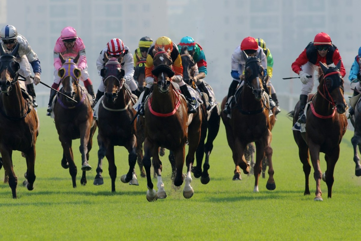 Joao Moreira leaves the rest of the field in his wake as Premiere (middle) wins at Sha Tin on Saturday. Photos: Kenneth Chan