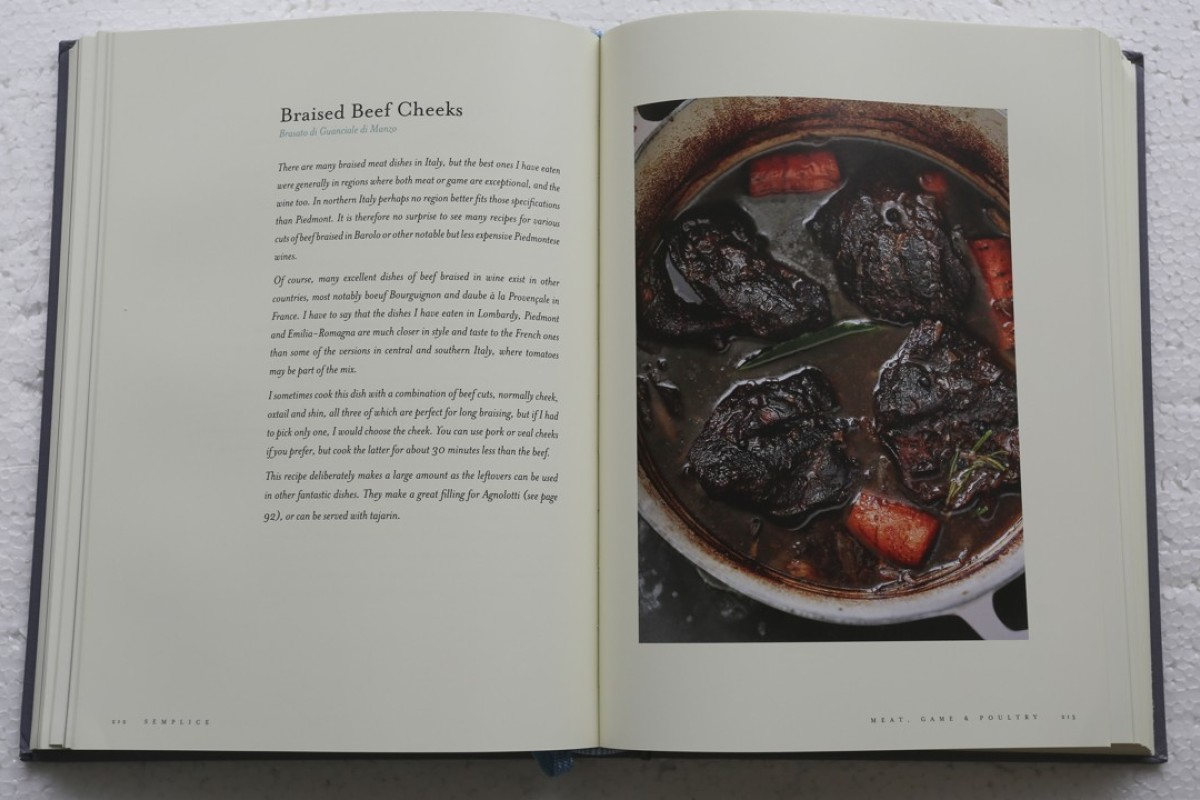 A recipe for Braised Beef Cheeks from the cookbook, Semplice: Real Italian Food – Ingredients and Recipes, by Dino Joannides