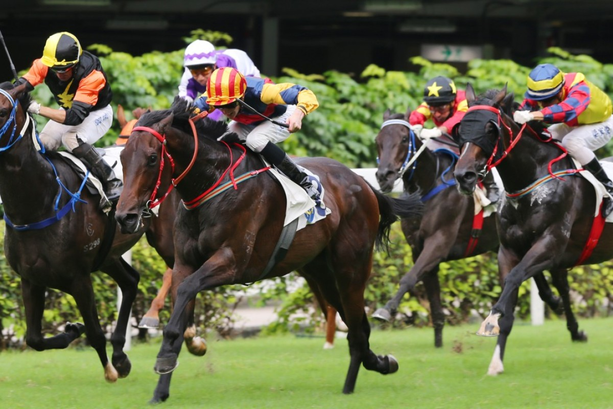 Chad Schofield guides Industrialist Way (middle) to victory at Happy Valley on June 9, 2015. Photos: Kenneth Chan