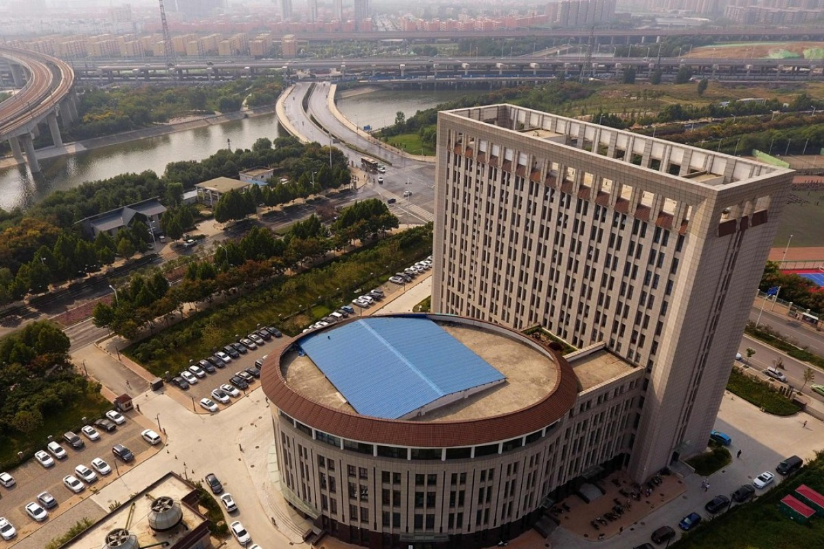 An aerial view of a university building in Zhengzhou in China's central Henan province that some say looks like a giant toilet. Photo: AFP
