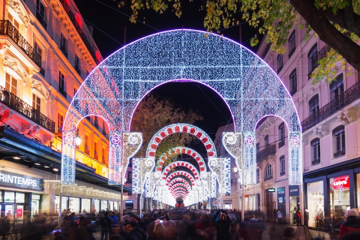 A street in Lyon is decorated for the Festival of Lights. Pictures: Alamy