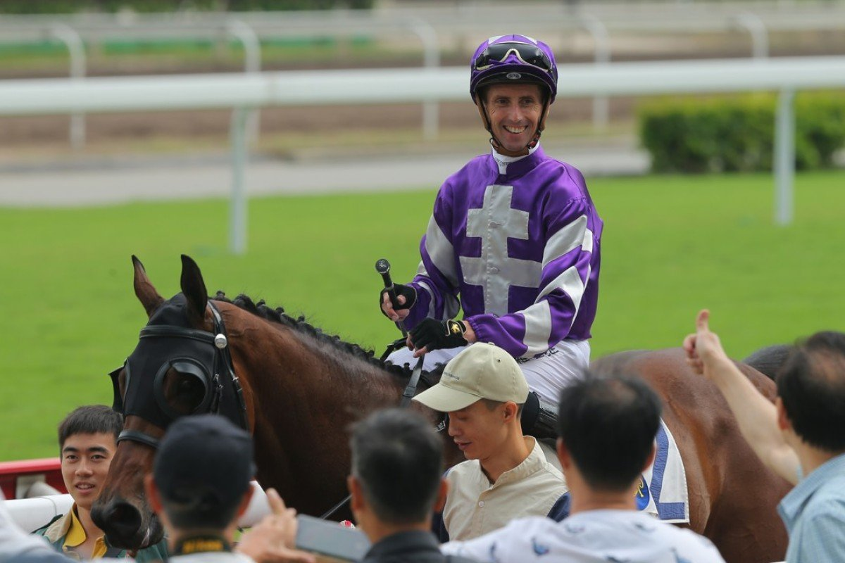 Nash Rawiller is all smiles after recording his 100th Hong Kong winner with Strathclyde on Saturday. Photos: Kenneth Chan