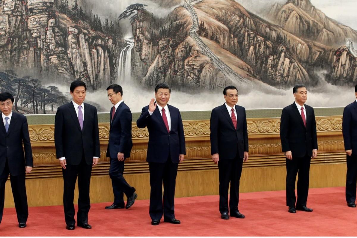 China's new Politburo Standing Committee: Wang Huning, Li Zhanshu, Han Zheng, President Xi Jinping, Li Keqiang, Wang Yang and Zhao Leji. Photo: Reuters