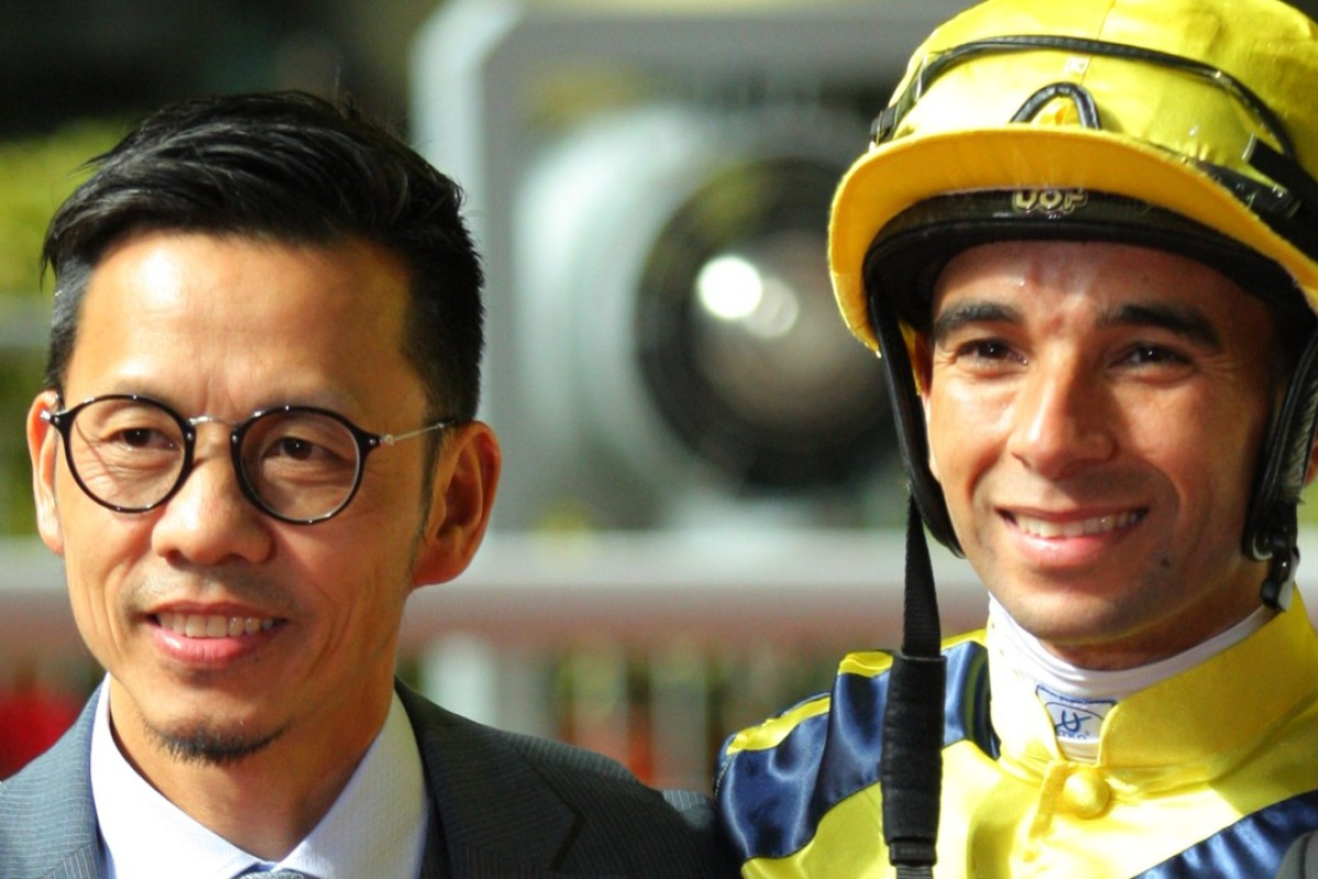 Frankie Lor and Joao Moreira celebrate their fifth win of the season together on Wednesday night with Diamond Friends. Photos: Kenneth Chan
