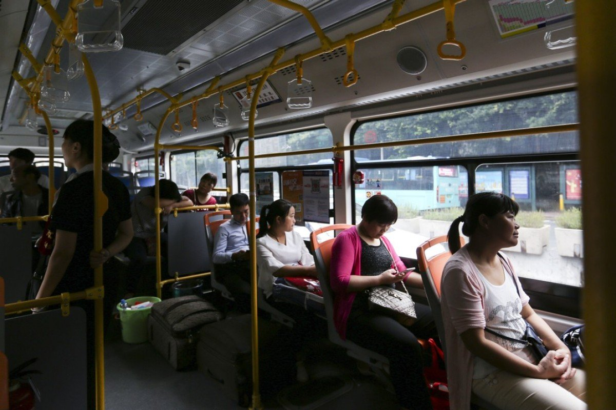 Passengers aboard an electric bus in Shenzhen. Picture: Xiaomei Chen