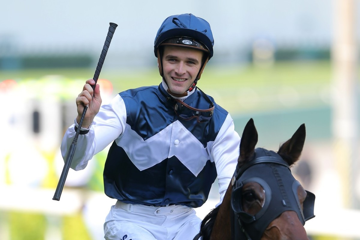Jockey Sam Clipperton celebrates a winner. Photos: Kenneth Chan
