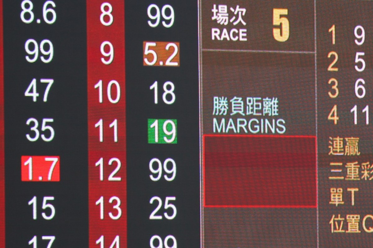 The tote board from race five at Sha Tin on Saturday. Photos: Kenneth Chan