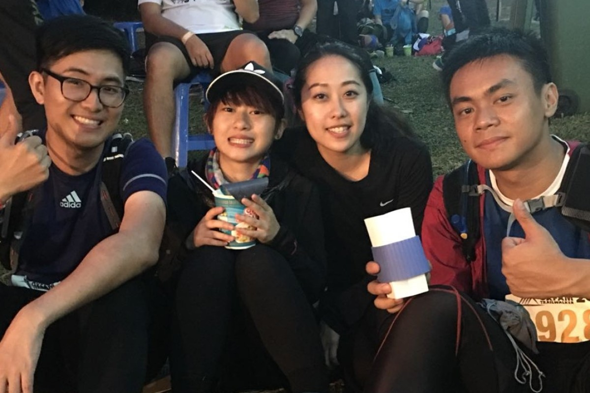 (From Left) Dennis Ho Man Chu, Wong Hon Ching, Judy Or Ying Tong and Vincent Lau Chun Yin, from team Walk or Die are facing a second night out on the trail. Photo: Ben Young