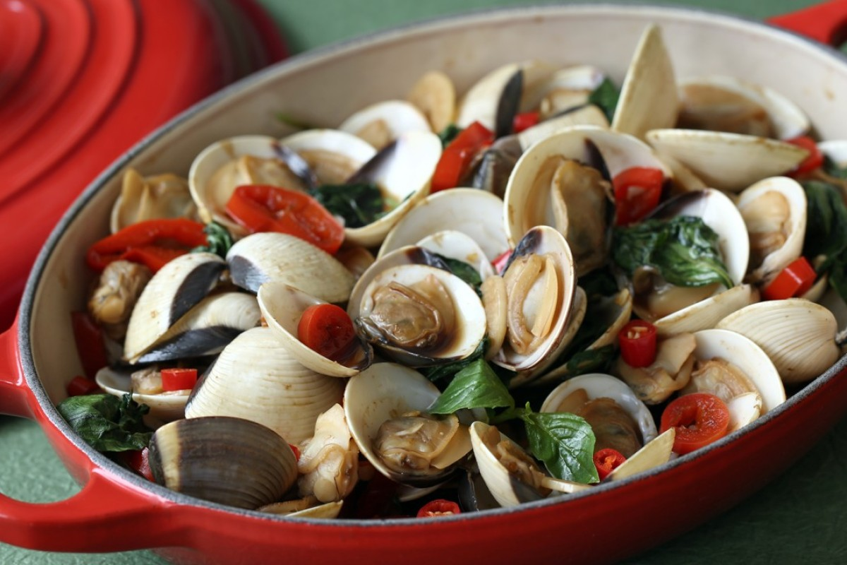 Clams with garlic, chillies and Thai basil, by Susan Jung. Photography: Jonathan Wong. Styling: Nellie Ming Lee