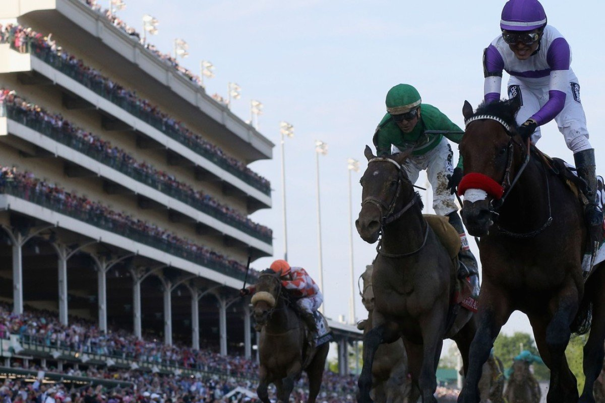 Mario Gutierrez celebrates atop Nyquist after crossing the finish line to win the 142nd running of the Kentucky Derby at Churchill Downs in Louisville, Kentucky in 2016. Kentucky is looking seriously to sell horses to China. Photo: AFP
