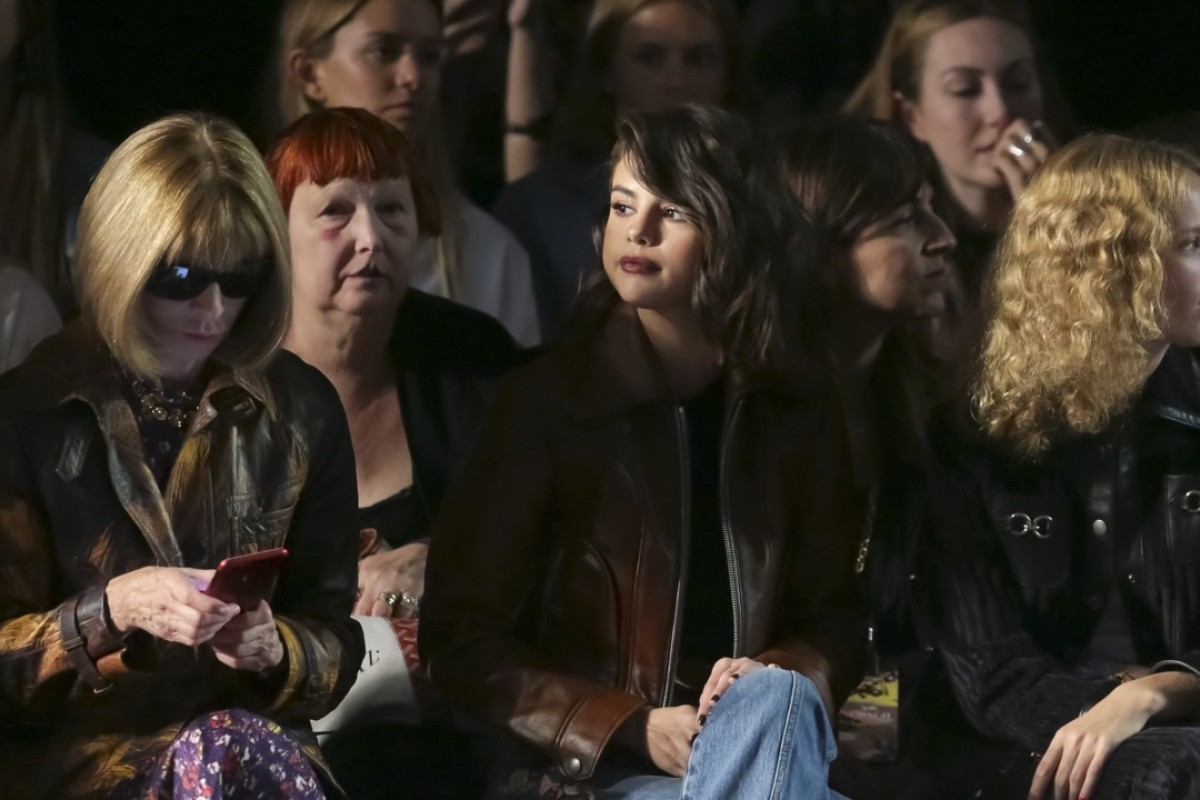Singer Selena Gomez (centre), who recently collaborated with Coach on a limited-edition collection, at the brand's 2018 spring-summer show in September, in New York. To the right is Vogue editor Anna Wintour. Picture: AP