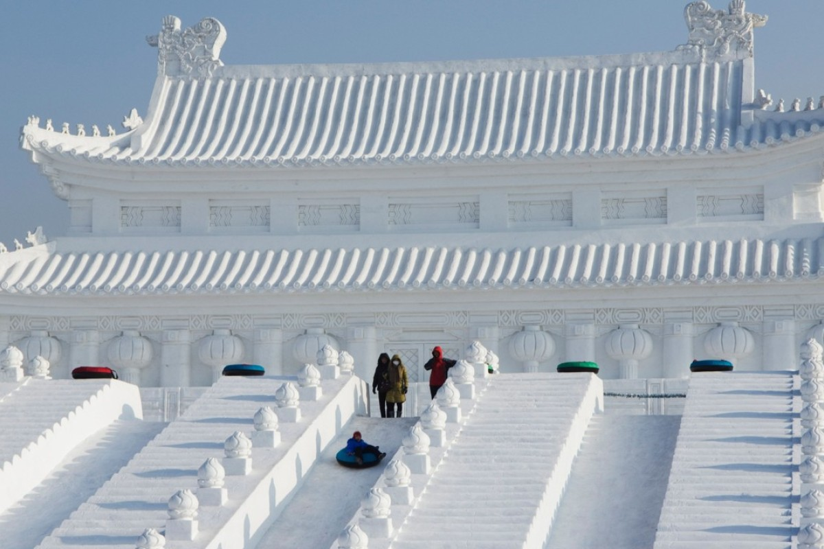 An ice sculpture of Beijing's Forbidden City, in Harbin. Picture: Alamy