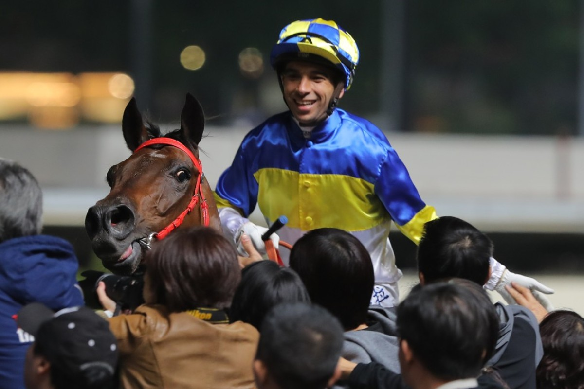 Jockey Joao Moreira celebrates a winner at Happy Valley. Photos: Kenneth Chan