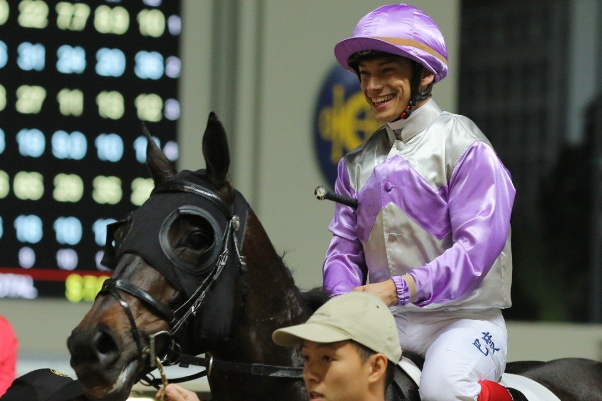 Alexis Badel after winning on Bold Stitch at Happy Valley. Photos: Kenneth Chan.
