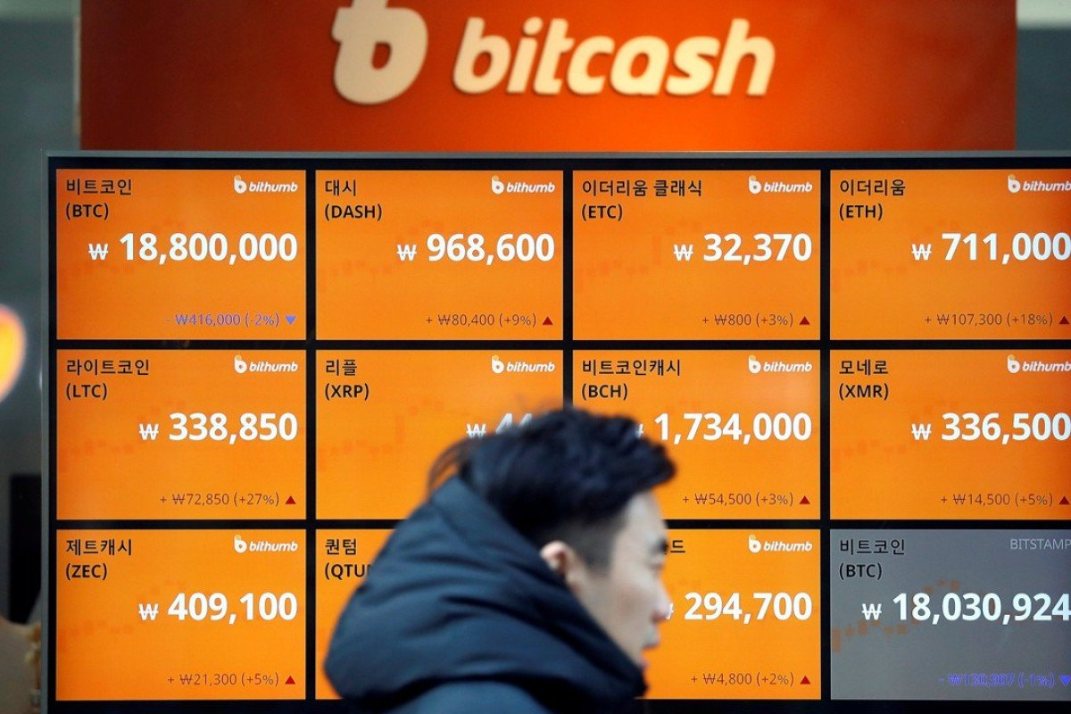 A man walks past an electric board showing exchange rates of various cryptocurrencies including bitcoin at a cryptocurrencies exchange in Seoul. Photo: Reuters