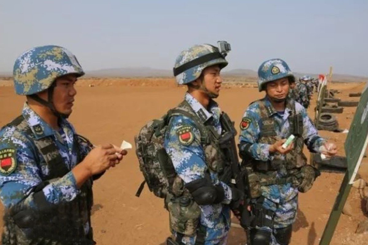 Chinese troops based in Djibouti stage a live fire drill. Photo: Handout