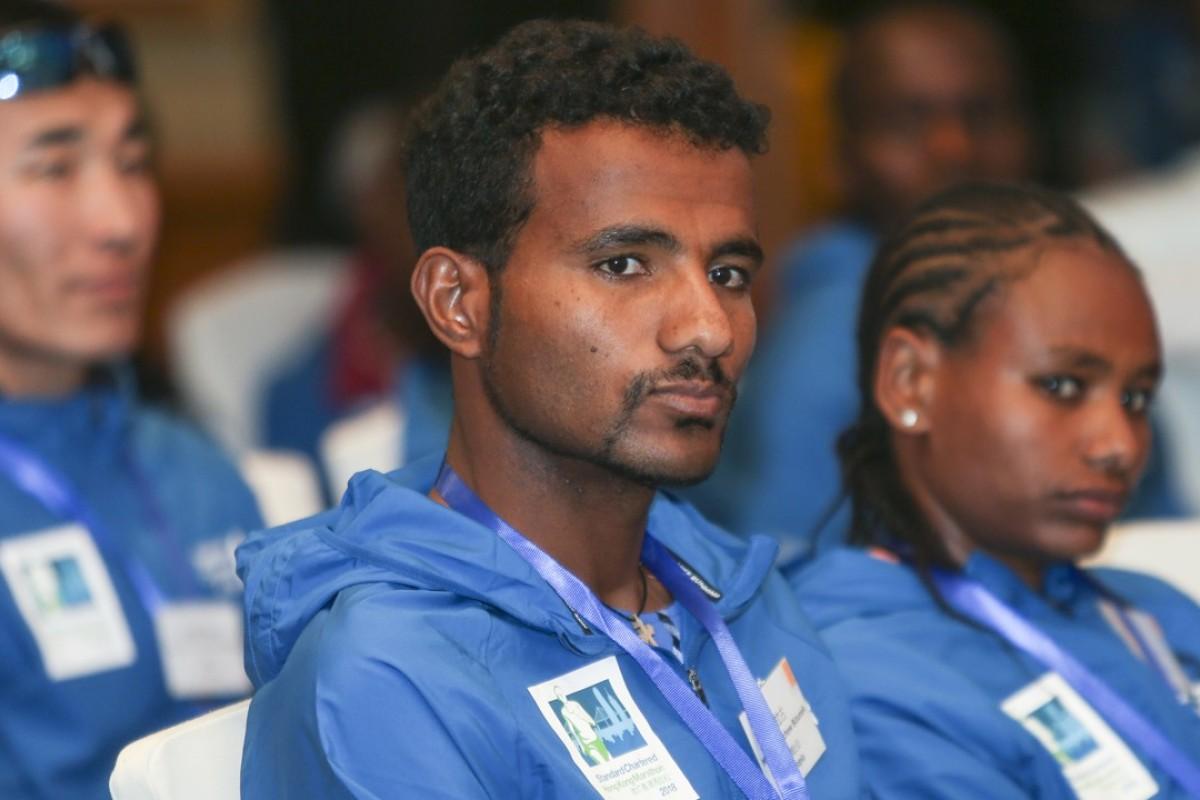 Defending men's champion Melaku Belachew Bizuneh from Ethiopia at the Hong Kong Marathon press conference in East Tsim Sha Tsui. Photo: Xiaomei Chen