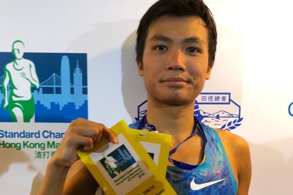 Abraham Kok Yu-hang, winner of the men's 10km race at the 2018 Hong Kong Marathon. Photo: Chan Kin-wa