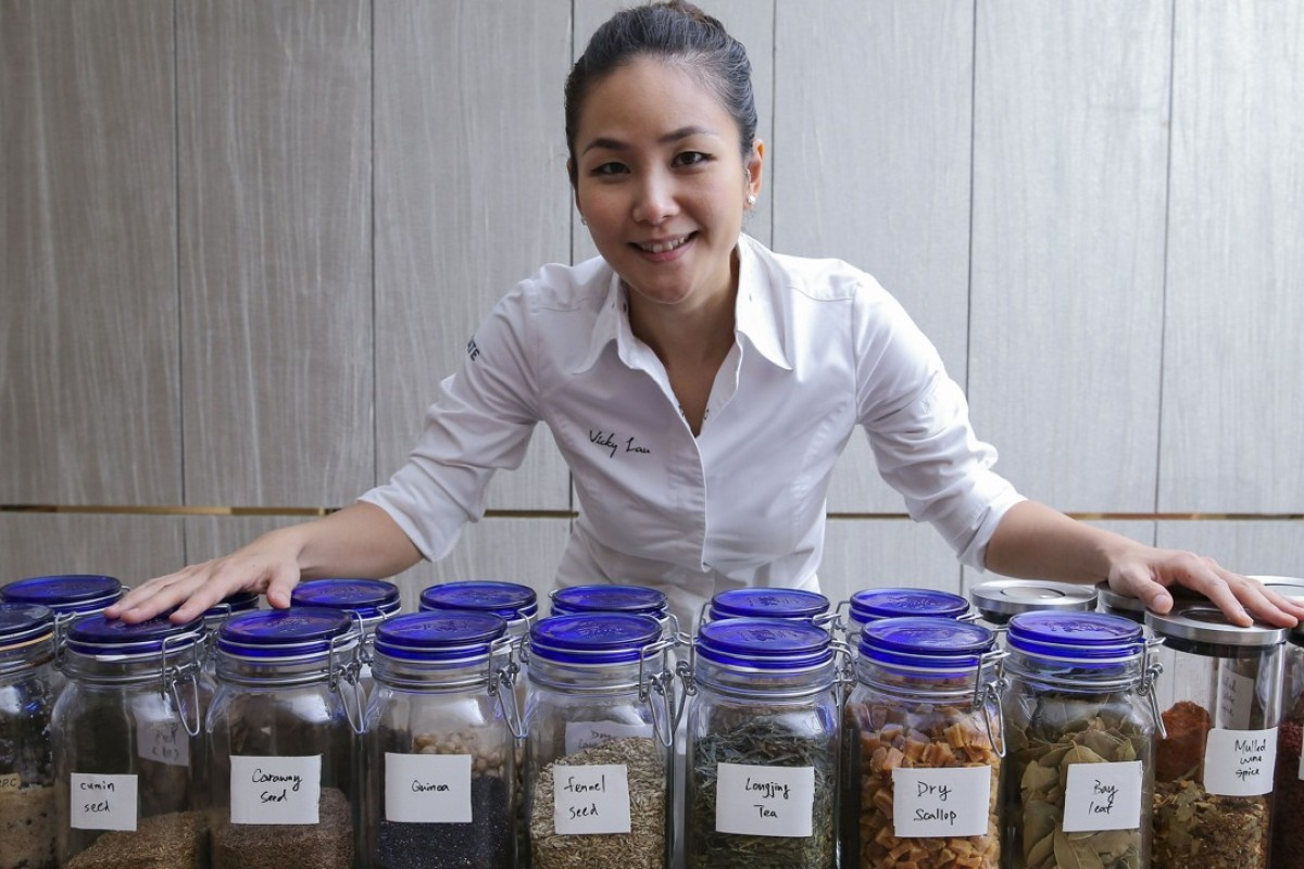 Vicky Lau with some of her favourite ingredients at Tate Dining Room, in Sheung Wan. Picture: Dickson Lee