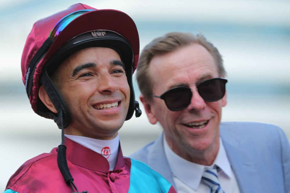 Joao Moreira and John Size after Beat The Clock won late last season. Photo: Kenneth Chan.