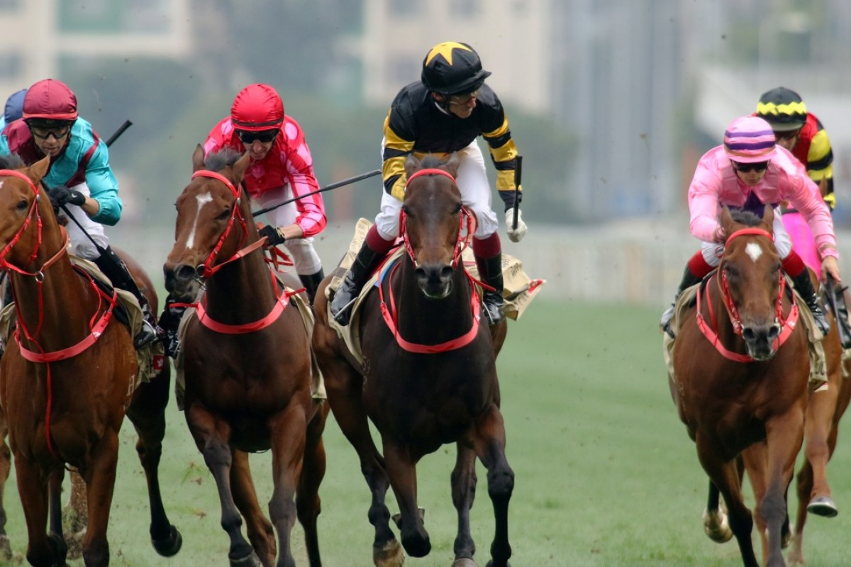 D B Pin (second from right) beats Mr Stunning (second from left) in the Group One Centenary Sprint Cup on Sunday. Photos: Kenneth Chan