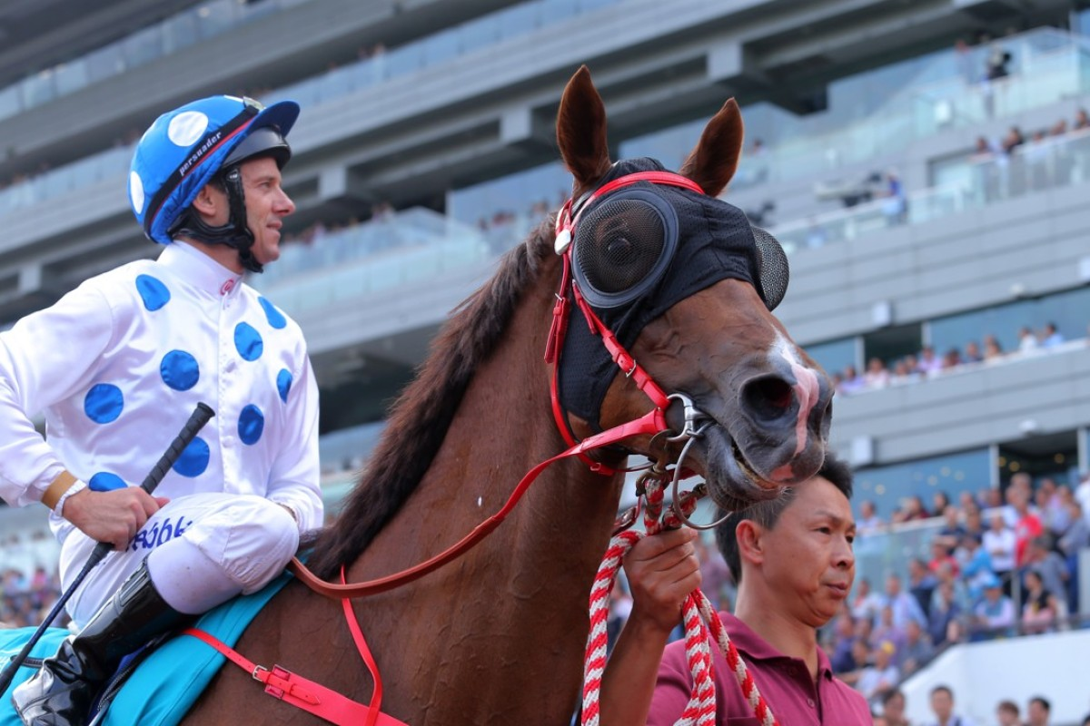 Contentment after winning the 2017 Champions Mile. Photos: Kenneth Chan.