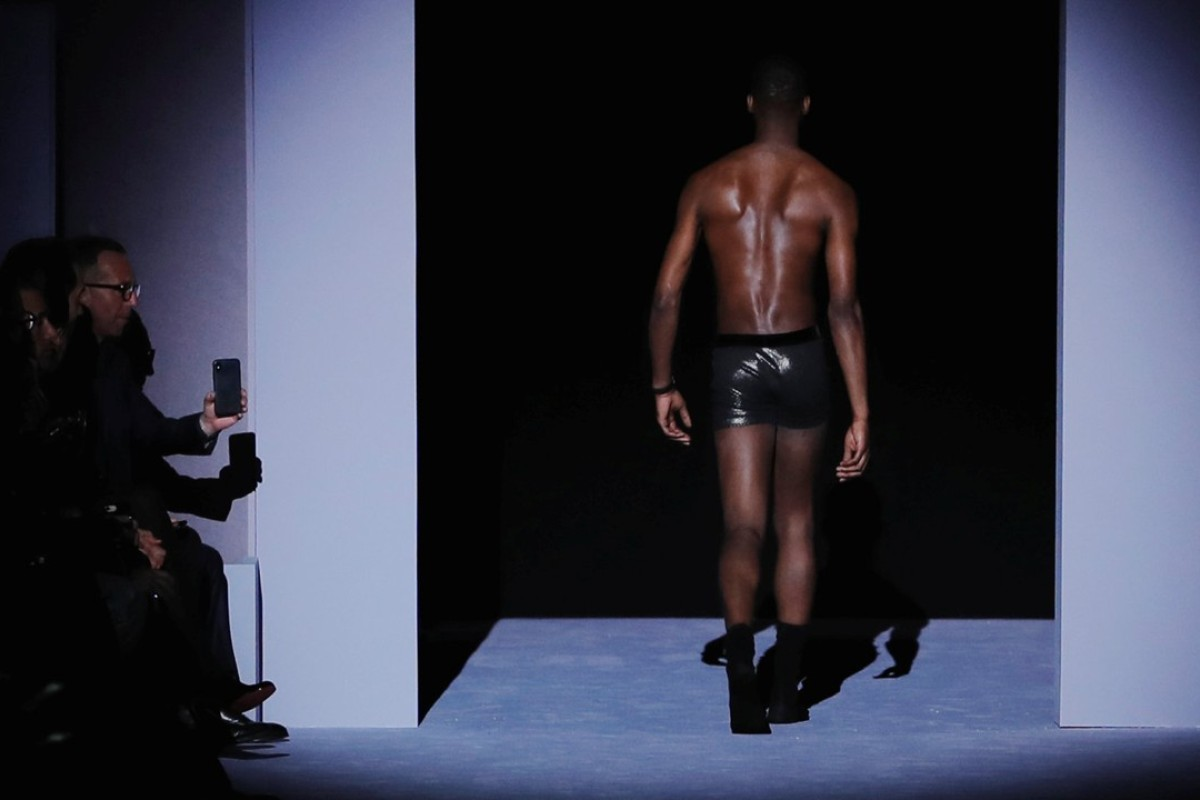 A model shows off underwear designs of Tom Ford's autumn/winter men's 2018 at the New York Men's Fashion Week. Photo: Reuters
