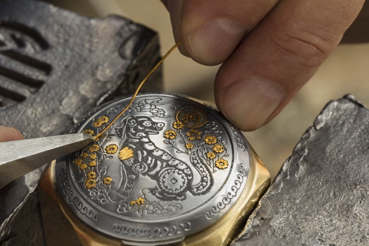 Panerai's Luminor Sealand Year of the Dog watch, which features gold threads inlaid onto the engraved steel lid.