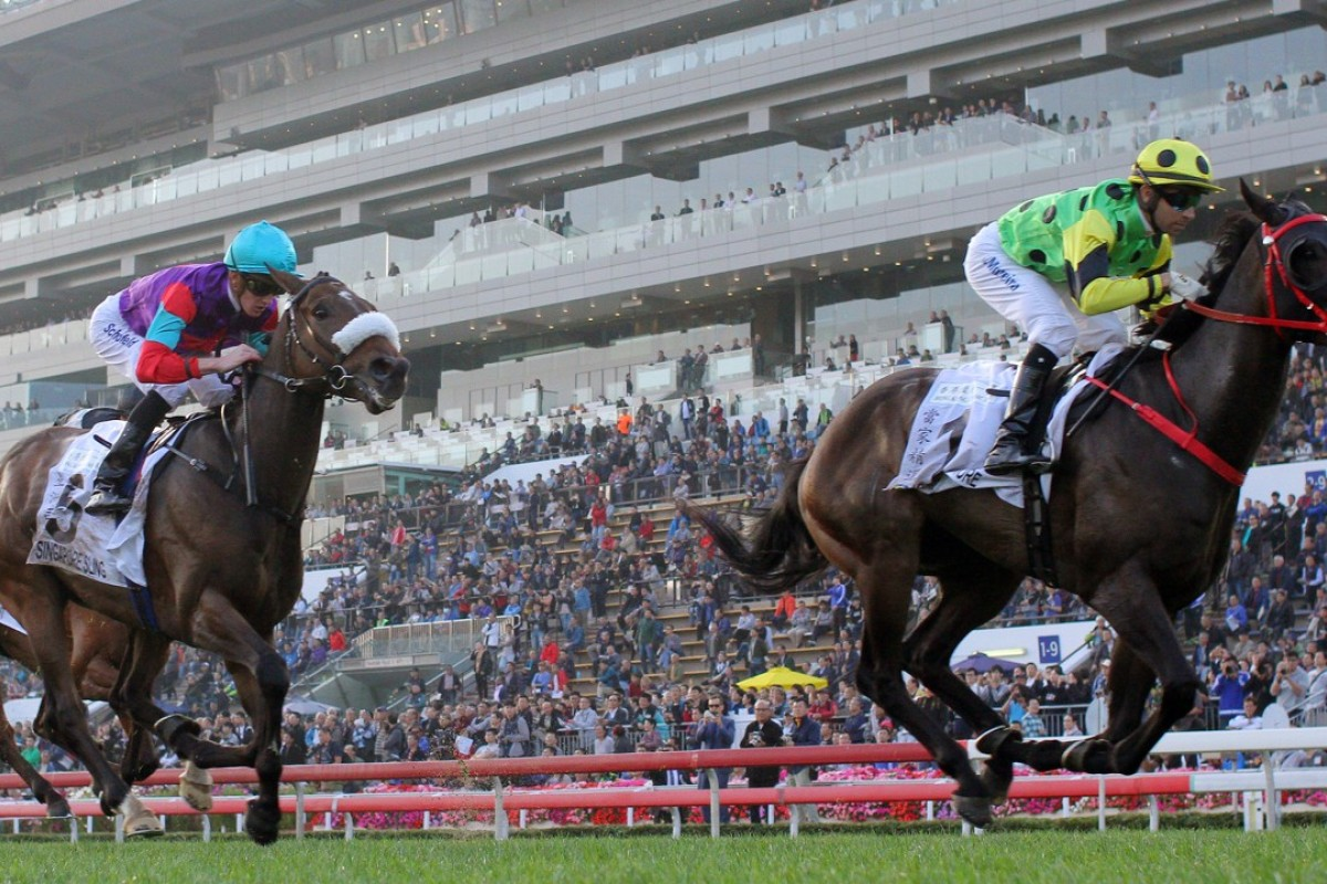 Nothingilikemore (right) wins the Classic Mile in January. Photos: Kenneth Chan