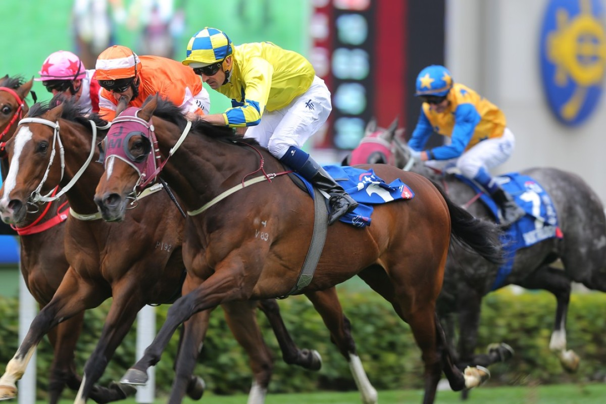 Hugh Bowman guides Werther to victory in the 2017 Citi Hong Kong Gold Cup. Photos: Kenneth Chan