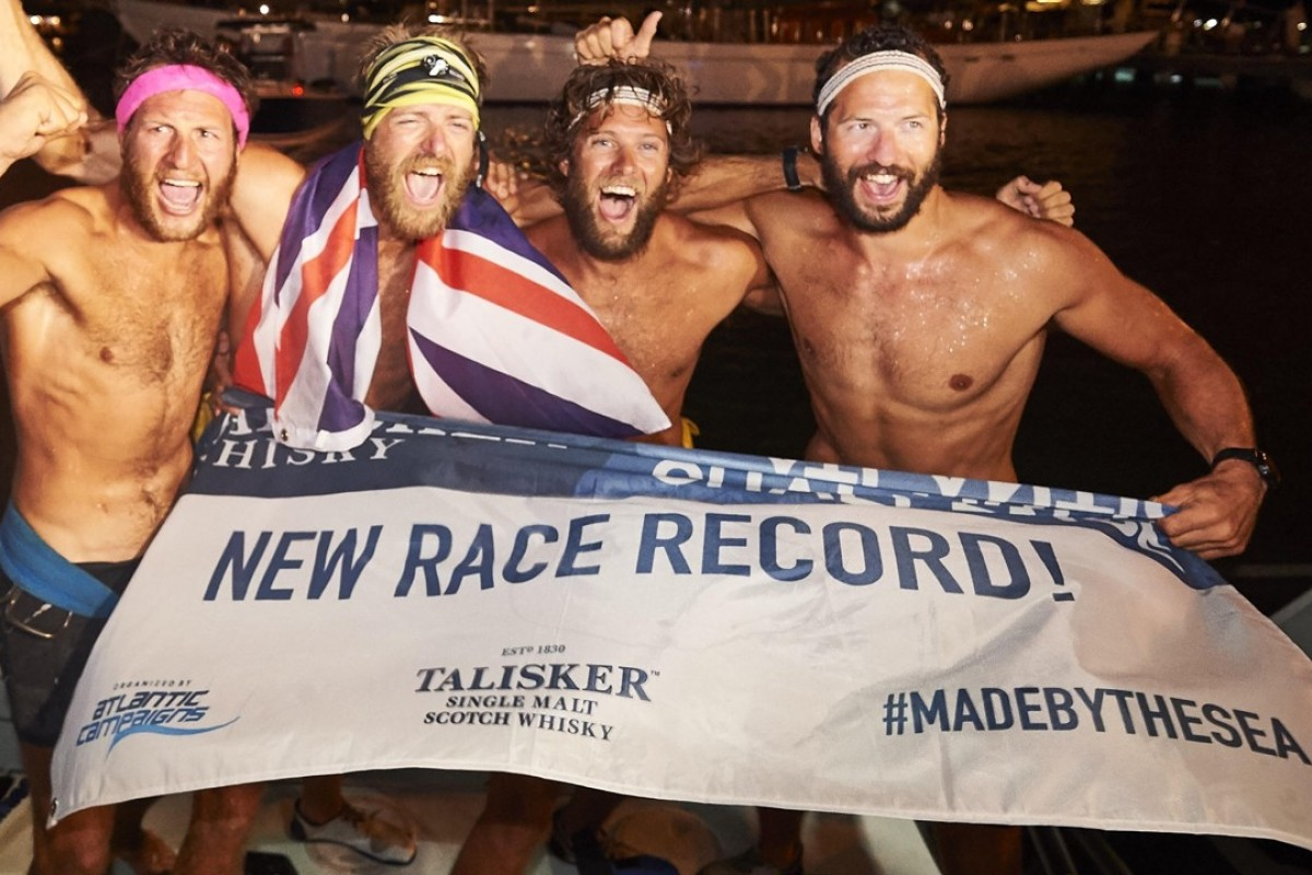 The Four Oarsmen set the world record for rowing the Atlantic. Peter Robinson (right) thought Will Greenwood was on board. Photo: Atlantic Campaigns