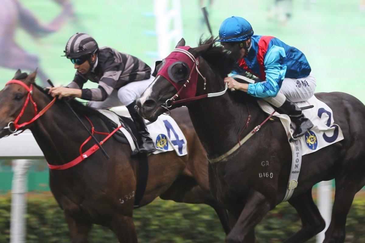 Ruthven (right) overhauls Sergeant Titanium at Sha Tin on Saturday. Photo: Kenneth Chan
