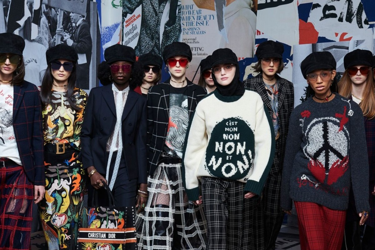 Dior's autumn/winter 2018 womenswear show at Paris Fashion Week references women's rights from the 1960s.