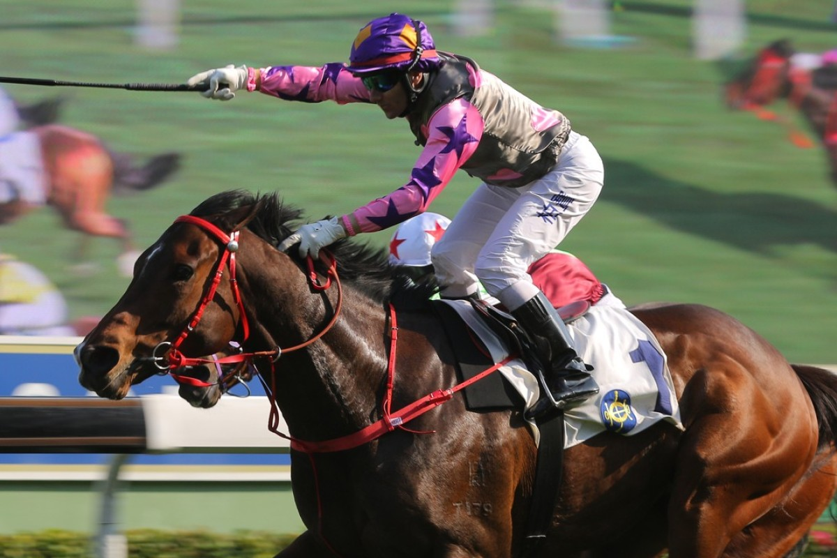 Brett Prebble salutes as Amazing Kids prevails at Sha Tin on Sunday. Photos: Kenneth Chan