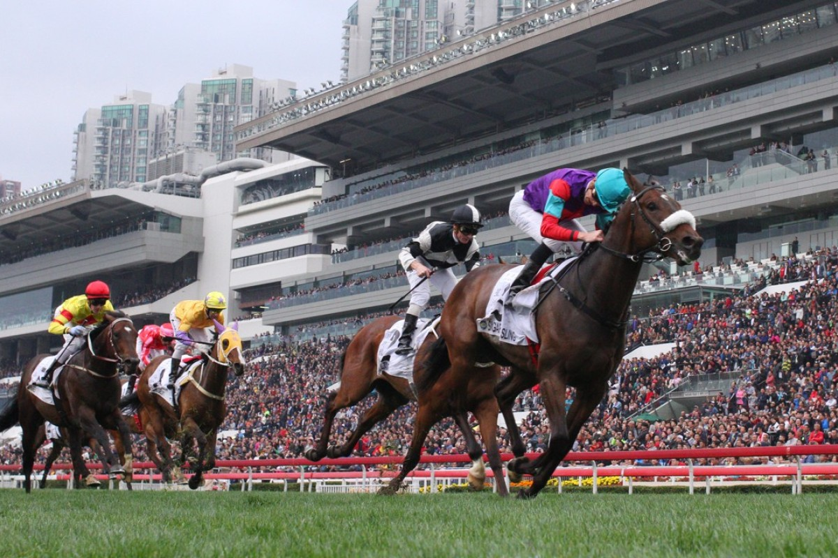 Singapore Sling, ridden by Chad Schofield, wins the Hong Kong Classic Cup at Sha Tin in February. Photos: Kenneth Chan