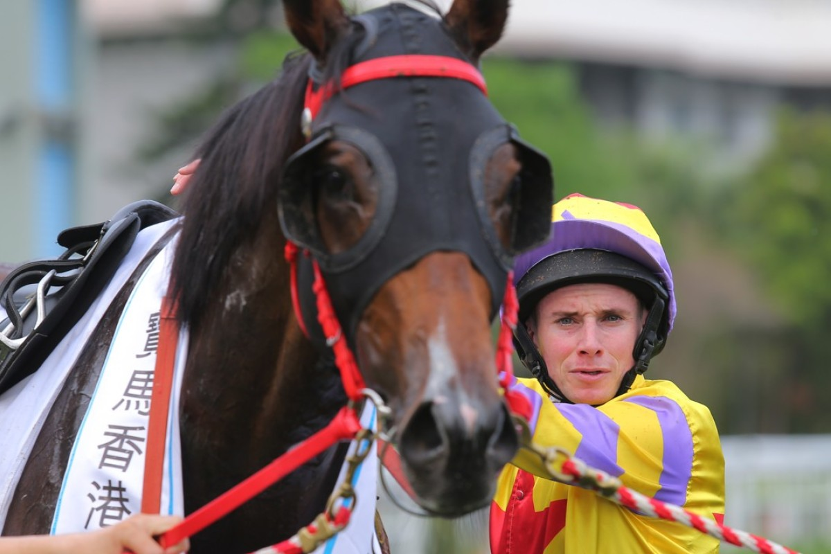 Ryan Moore with Ping Hai Star after Sunday's BMW Hong Kong Derby. Photos: Kenneth Chan.