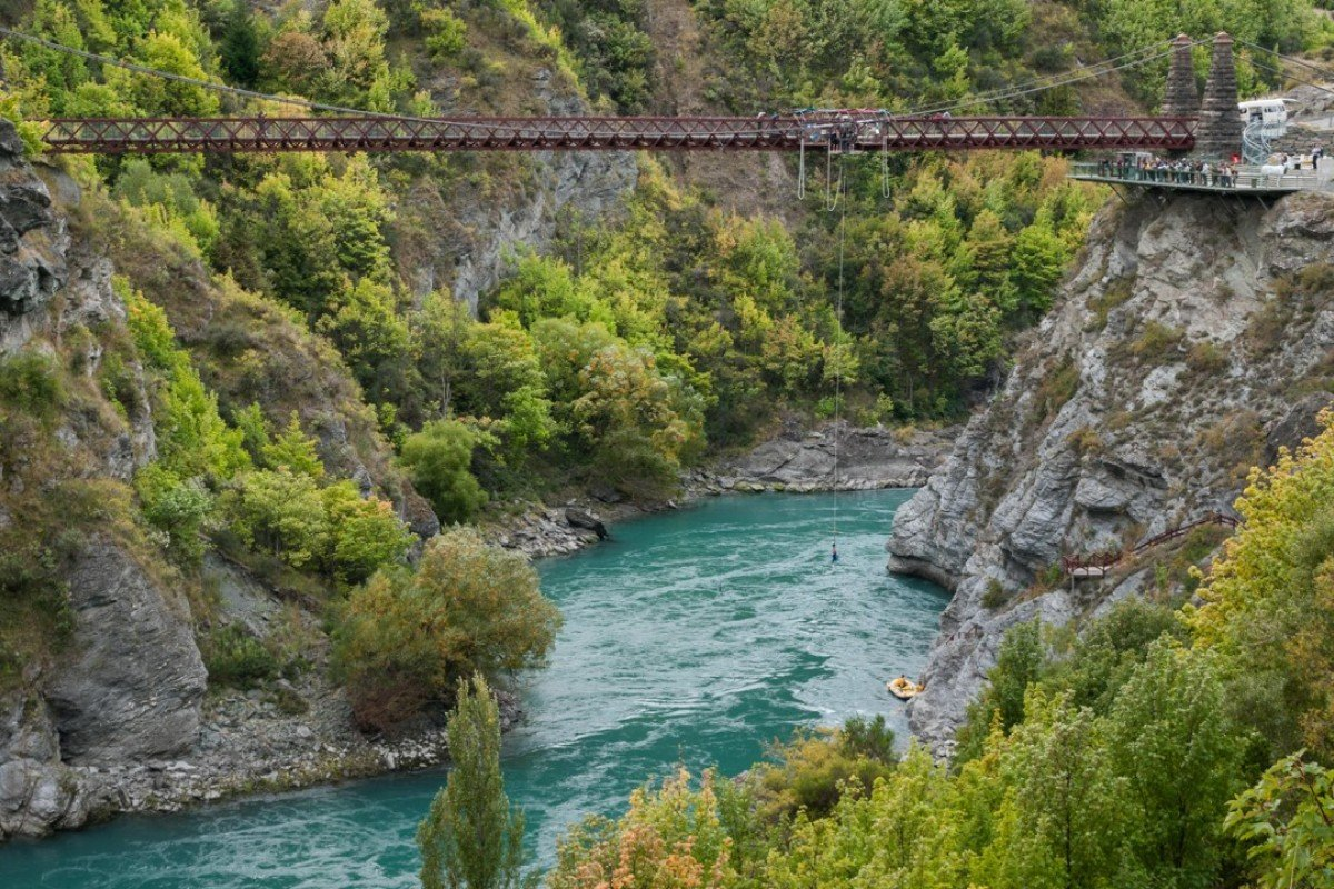 The Kawarau Bridge, near Queenstown, on New Zealand's South Island, is the site of the world's first commercial bungee jump. Pictures: Alamy