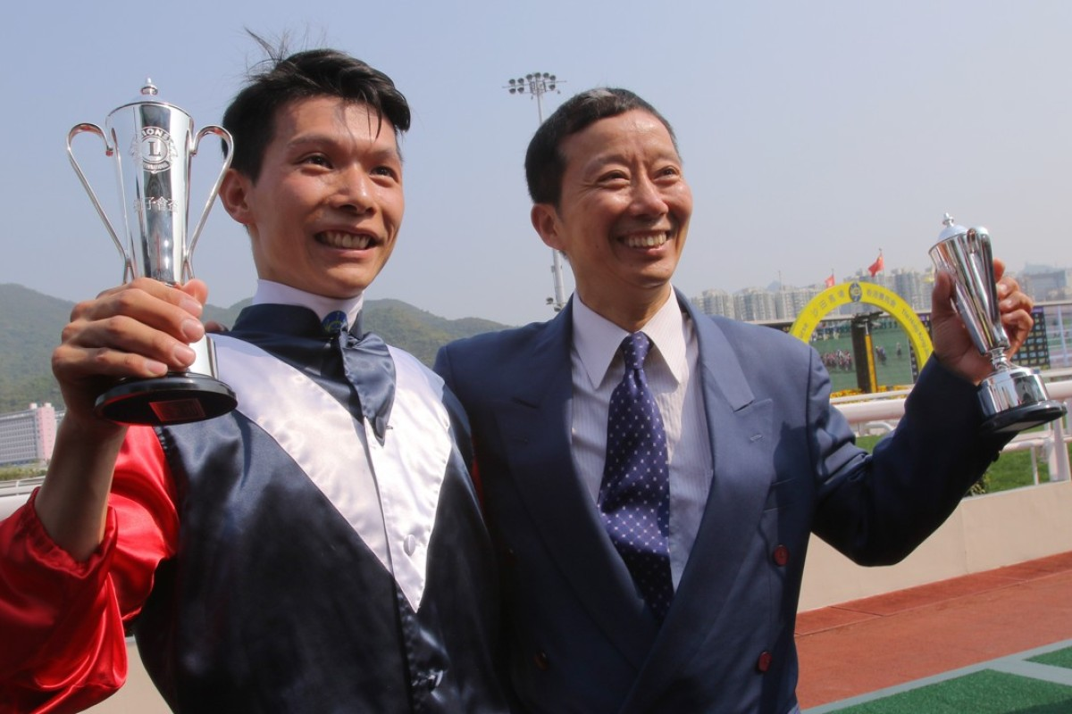 Victor Wong and Benno Yung celebrate winning the Hong Kong Lions Cup at Sha Tin on Monday. Photos: Kenneth Chan