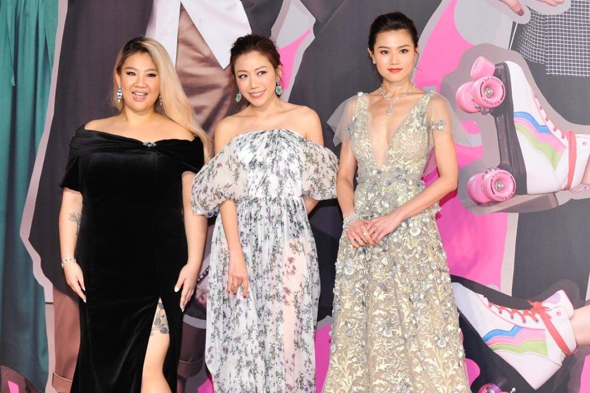 Red-carpet stars Joyce Cheng (left), Kearen Pang (centre) and Chrissie Chau at Sunday's Hong Kong Film Awards ceremony.