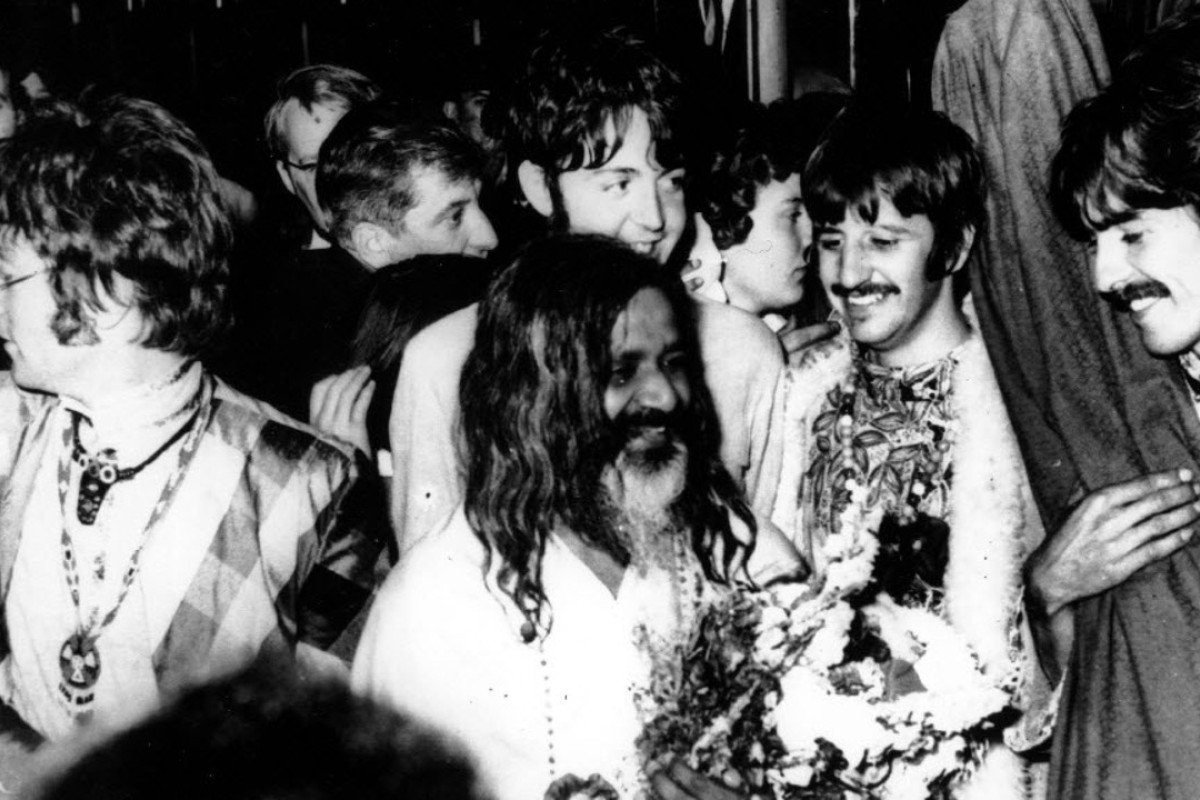 The Beatles, pictured with Maharishi Mahesh Yogi (centre) in 1967, were big advocates of Transcendental Meditation. Picture: AP
