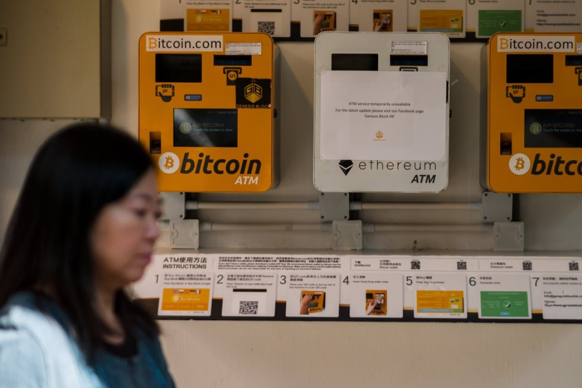Bitcoin ATMs in Wan Chai, Hong Kong. Photo: EPA