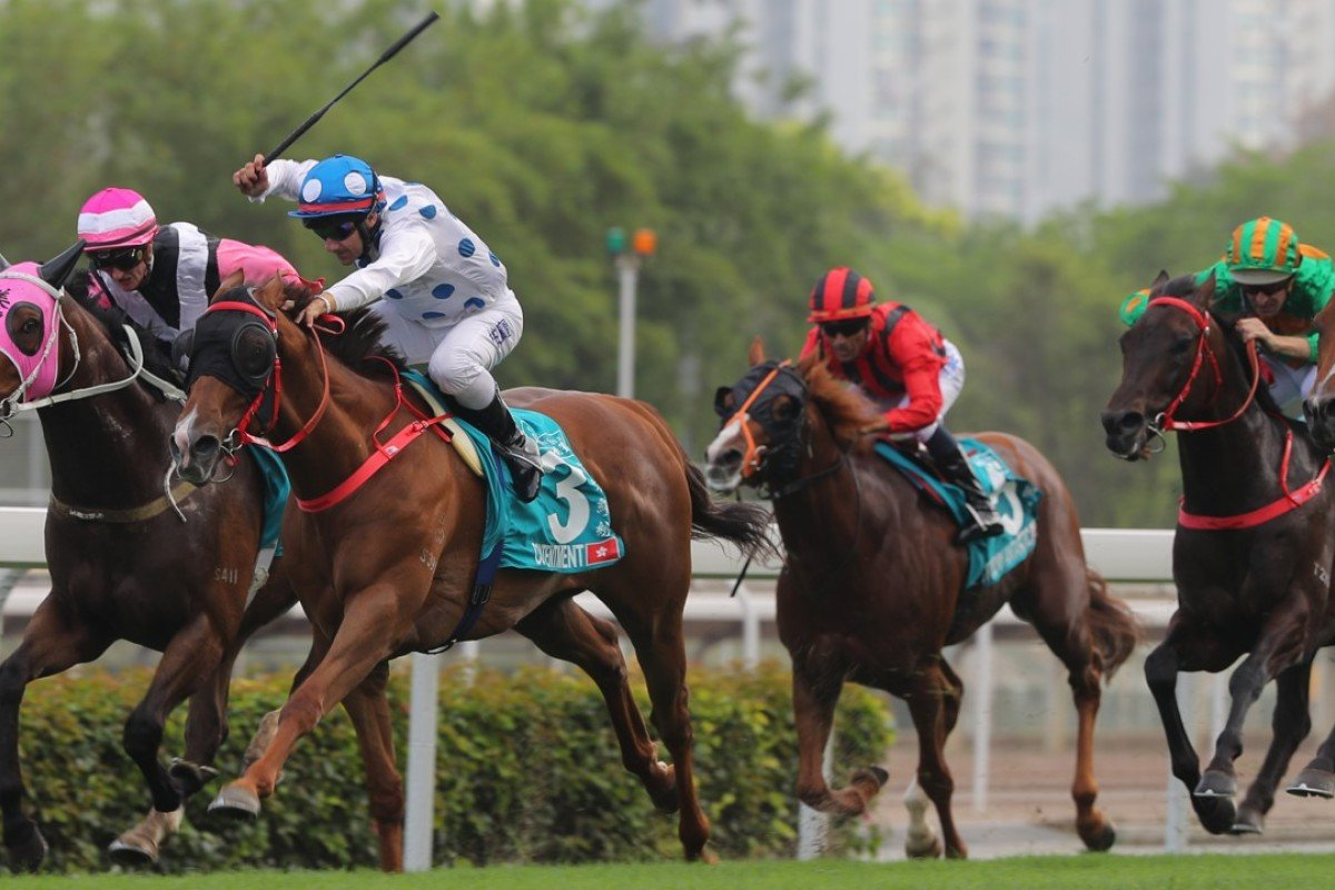 Contentment wins the Group One Champions Mile in 2017. Photos: Kenneth Chan
