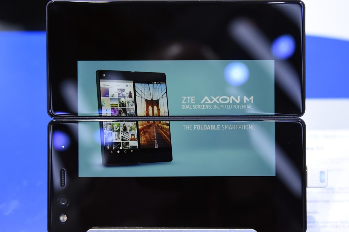 ZTE's foldable smartphone AXON M at the Mobile World Congress in Barcelona. Photo: AFP